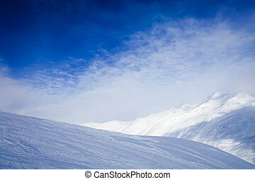 Winter mountains - The view on winter mountains, covered...