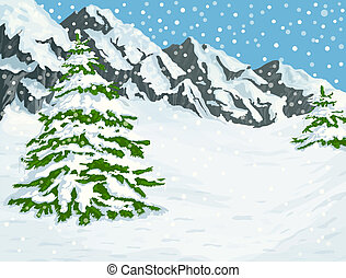 Winter mountains - Winter landscape with snow covered...