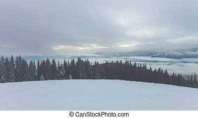 Winter mountains with clouds. Time lapse - 4k winter...