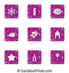 Winter mystery icons set, grunge style