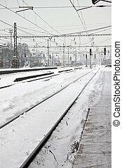 winter., nad, tcheco, lysa, labem, estação, república, estrada ferro