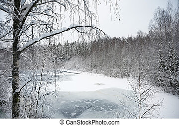 Winter nature landscape with a frozen river in the snow covered forest