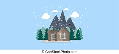 Winter nature landscape with Cute little house, fir trees, Mountains and snowflakes. Winter Background.