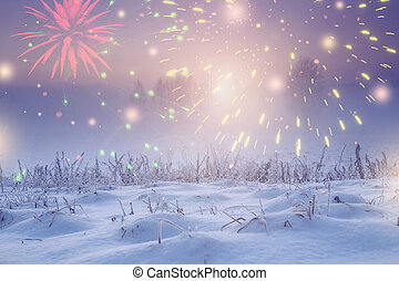 Winter nature landscape with festive lights for new year. Christmas at night with fireworks in dark sky. Xmas background. trees and plants covered by snow and hoarfrost. Celebrate Christmas.