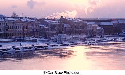 winter Neva river embankment at Saint Petersburg Russia