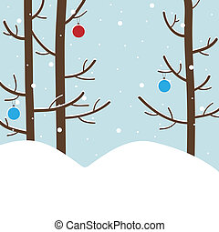 Winter New Year`s forest. - Winter forest with trees and New...