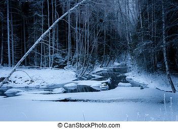 Winter Night at the River - Very cold night at the river in...
