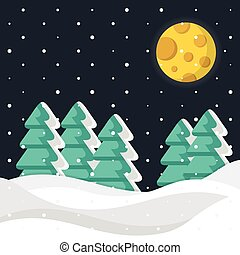 Winter night. Christmas trees, snow, snowdrifts and moon. Vector winter background