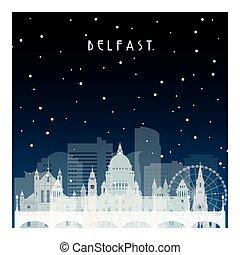 Winter night in Belfast. Night city in flat style for...