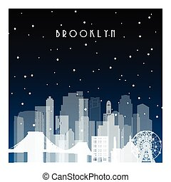 Winter night in Brooklyn. Night city in flat style for...