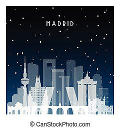 Winter night in Madrid. Night city in flat style for banner,...