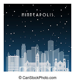Winter night in Minneapolis. Night city in flat style for...