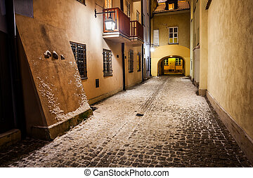 Winter Night in Old Town of Warsaw