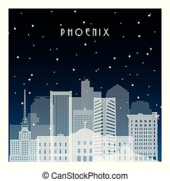 Winter night in Pheonix. Night city in flat style for...