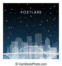 Winter night in Portland.
