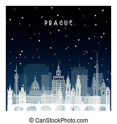 Winter night in Prague. Night city in flat style for banner,...
