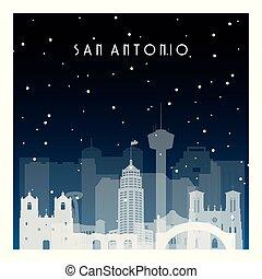 Winter night in San Antonio. Night city in flat style for...