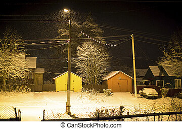 Winter night in small Russian town