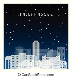 Winter night in Tallahassee. Night city in flat style for banner, poster, illustration, background.