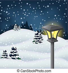 Winter night in the park - Vector Illustration Of Winter...