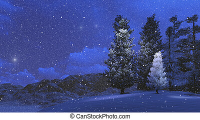 Winter night in the snowbound pinewood 1 - Nighttime view of...