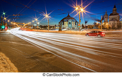 Winter night in Tula, Russia