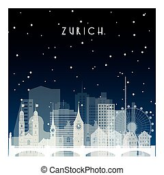 Winter night in Zurich. Night city in flat style for banner,...
