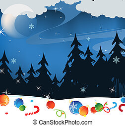 Winter night landscape - Christmas decorations lost in the...