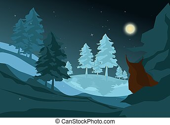 Winter Night Landscape with Christmas Trees and Owl. Vector Illustration.