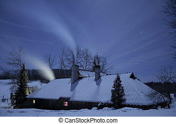Winter night - Lonly house is standing in winter night