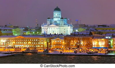 Winter night scenery of Helsinki