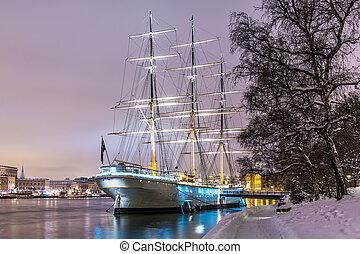 Winter night scenery of Stockholm, Sweden