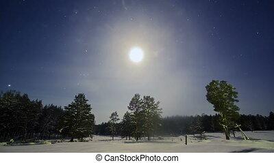 Winter night scenery. Time Lapse . 4K