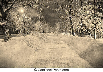 Winter night snowy street with moon in retro style, aged...