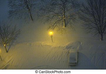 winter night - Urban landscape at winter night. North York,...