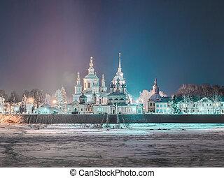 Winter night view of orthodox church in Russia