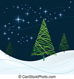 Winter night with Christmas trees vector card.