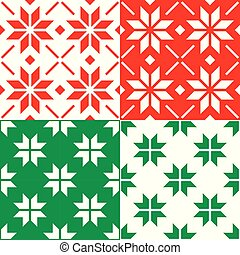 Winter Nordic snowflakes vector pattern, Christmas seamless design - set in red and green
