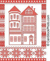 Winter Nordic style and inspired by Scandinavian Christmas pattern illustration in cross stitch including tall gingerbread house with tower, snowflake, decor seamless ornate patterns in red, white