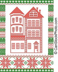Winter Nordic style and inspired by Scandinavian Christmas pattern illustration in cross stitch including tall gingerbread house with tower, snowflake, decor seamless ornate patterns in red, green