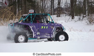 Winter off-road racing. Buggy race.