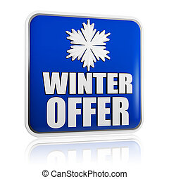 winter offer blue banner with snowflake symbol