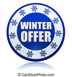 winter offer on blue circle banner with snowflakes symbols