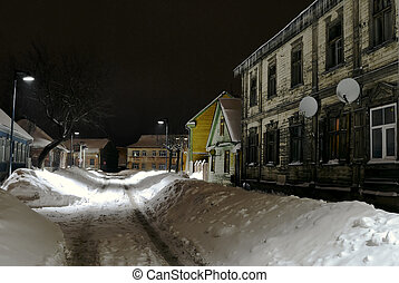 Winter, Old street in Jelgava /Latvia/