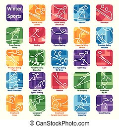 winter olympics icons2.eps - Set of 24 icons of winter...
