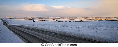 Winter on a country road in North Yorkshire - England