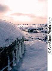 Winter on a island - the beach of a island on a winter...