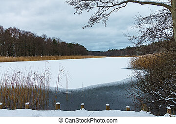 Winter on a lake in Prerow, Germany