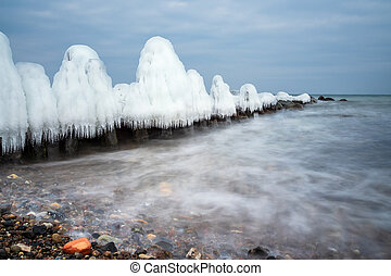 Winter on shore of the Baltic Sea in Kuehlungsborn, Germany.