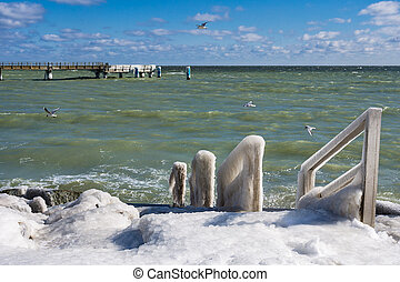 Winter on shore of the Baltic Sea in Sassnitz, Germany.
